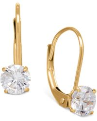 Macy's - Solitaire Cubic Zirconia Hoop Earrings In 14k Yellow, White, And Rose Gold - Lyst