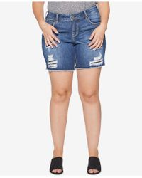 Silver Jeans Co. - Plus Size Sam Distressed Bermuda Shorts - Lyst