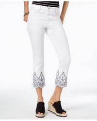 77c61934c7a31 Tommy Hilfiger - Embroidered Scallop-hem Cropped Jeans