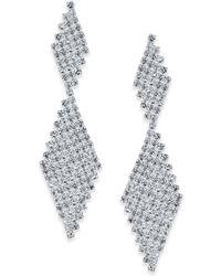INC International Concepts - Silver-tone Crystal Mesh Drop Earrings - Lyst