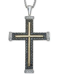 Macy's - Men's Diamond Two-tone Cross Pendant Necklace (1 Ct. T.w.) In Sterling Silver And 10k Gold - Lyst