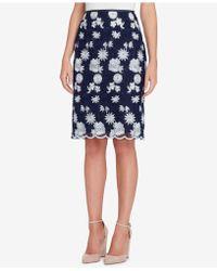 Tahari - Embroidered Mesh Skirt - Lyst