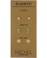 RACHEL Rachel Roy - Gold-tone 3-pc. Set Pavé Warmth Stud Earrings - Lyst