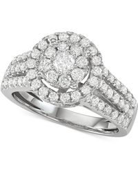Macy's - Diamond Halo Cluster Engagement Ring (1-1/2 Ct. T.w.) In 14k White Gold - Lyst