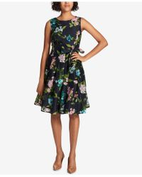 Tommy Hilfiger - Floral-printed Shadow-stripe Fit & Flare Dress - Lyst