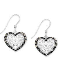 Macy's - Marcasite & Crystal Openwork Heart Drop Earrings In Fine Silver-plate - Lyst