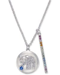 "Danori - Silver-tone Elephant Pavé Disc & Horizontal Bar Pendant Necklace, 16"" + 2"" Extender, Created For Macy's - Lyst"