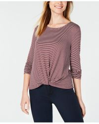 Maison Jules - Striped Twisted Hem Top, Created For Macy's - Lyst