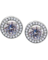 Macy's | Cubic Zirconia Halo Stud Earrings In Sterling Silver (1-3/4 Ct. T.w.) | Lyst