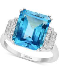Effy Collection - Effy® Blue Topaz (6-3/8 Ct. T.w.) & Diamond (1/10 Ct. T.w.) Ring In 14k White Gold - Lyst