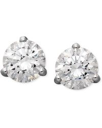 Arabella - 14k White Gold Earrings, Swarovski Zirconia Round Stud Earrings (4-1/4 Ct. T.w.) - Lyst