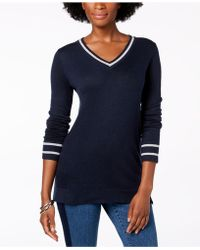 Charter Club - Petite Striped-trim Sweater, Created For Macy's - Lyst