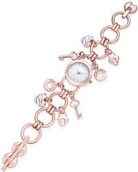 Charter Club - Women's Rose Gold-tone Charm Bracelet Watch 23mm - Lyst