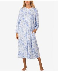 Lanz of Salzburg - Lace-trimmed Printed Microfleece Nightgown - Lyst