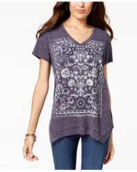 Style & Co. - Printed V-neck T-shirt, Created For Macy's - Lyst