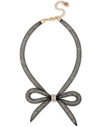 Betsey Johnson | Two-tone Mesh Crystal Bow Collar Necklace | Lyst