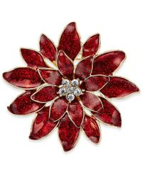 Charter Club - Gold-tone Red Epoxy Crystal Poinsettia Pin, Only At Macy's - Lyst