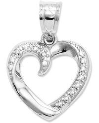 Macy's - 14k White Gold Charm, Swirled Heart Charm - Lyst