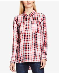 Two By Vince Camuto - High/low Check Top - Lyst