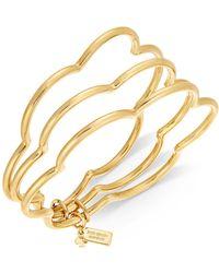 Kate Spade - Gold-tone Stackable Scalloped Edge Triple Layer Bangle Bracelet - Lyst