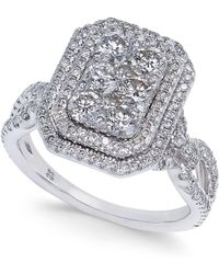 Macy's - Diamond Multi-halo Cluster Engagement Ring (1-5/8 Ct. T.w.) In 14k White Gold - Lyst
