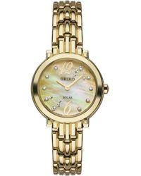 Seiko - Women's Solar Tressia Diamond Accent Gold-tone Stainless Steel Bracelet Watch 23mm Sup356 - Lyst