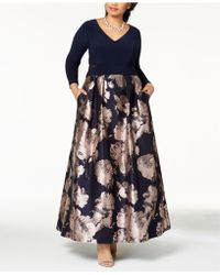 Xscape - Plus Size Illusion Brocade Ball Gown - Lyst