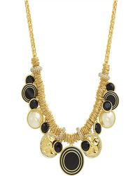 Catherine Malandrino - Cluster-style Simulated Pearl Hammered Yellow Gold-tone Jump Ring Charm Necklace - Lyst