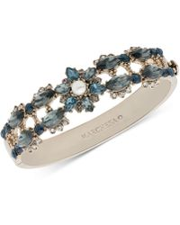 Marchesa - Gold-tone Crystal, Stone & Imitation Pearl Bangle Bracelet - Lyst
