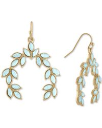 RACHEL Rachel Roy - Gold-tone Colored Stone Leaf Drop Earrings - Lyst