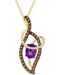 "Le Vian - ® Grape Amethysttm (9/10 Ct. T.w.) & Diamond (5/8 Ct. T.w.) Abstract Swirl 18"" Pendant Necklace In 14k Gold - Lyst"