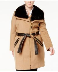 Via Spiga - Plus Size Mixed-media Asymmetrical Coat - Lyst