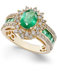 Macy's - Emerald (2-1/5 Ct. T.w.) And Diamond (3/4 Ct. T.w.) Ring In 14k White Gold (also Available In Ruby & Sapphire) - Lyst