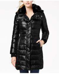 French Connection - Faux-fur-collar Puffer Coat - Lyst