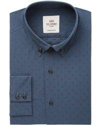 Ben Sherman - Men's Slim-fit Navy & Wine Clip Spot Check Dress Shirt - Lyst