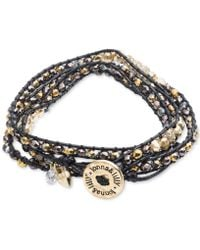 Lonna & Lilly - Gold-tone And Cord Beaded Logo Wrap Bracelet - Lyst