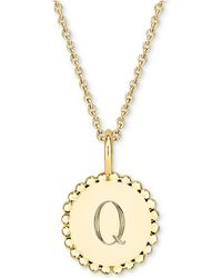 """Sarah Chloe - Initial Medallion Pendant Necklace In 14k Gold-plated Sterling Silver, 16"""" + 2"""" Extender - Lyst"""