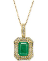 Macy's - Emerald (1-1/2 Ct. T.w.) And White Sapphire (1 Ct. T.w.) Rectangular Pendant Necklace In 14k Gold - Lyst