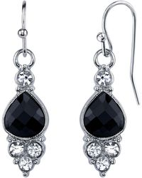 2028 - Silver-tone Black And Crystal Accent Petite Drop Earrings - Lyst