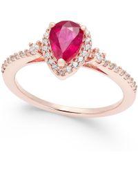 Macy's - Ruby (3/4 Ct. T.w.) And Diamond (1/4 Ct. T.w.) Ring In 14k Rose Gold - Lyst