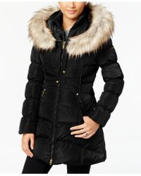 Laundry by Shelli Segal - Faux-fur-trim Hooded Puffer Coat - Lyst