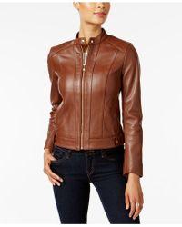 Cole Haan - Petite Zip-cuffs Leather Moto Jacket - Lyst