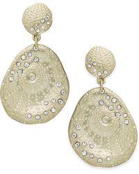 ABS By Allen Schwartz - Earrings, Gold-tone Scattered Pave Double-drop Earrings - Lyst