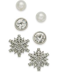 Charter Club - Silver-tone 3-pc. Set Snowflake Crystal & Imitation Pearl Stud Earrings, Created For Macy's - Lyst