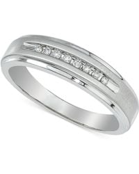 Macy's - Men's Diamond Band (1/10 Ct. T.w.) In 10k White Gold - Lyst