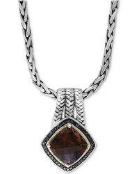 """Effy Collection - Effy® Smoky Quartz (3-3/4 Ct. T.w.) And Black Diamond (1/5 Ct. T.w.) 18"""" Pendant Necklace In Sterling Silver And 18k Gold - Lyst"""