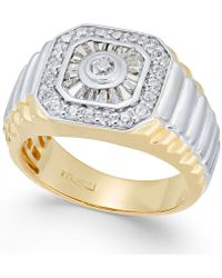 Macy's - Men's Diamond Two-tone Cluster Ring (1 Ct. T.w.) In 10k Gold - Lyst