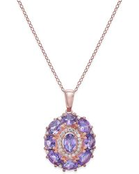 Macy's - Amethyst (3-1/2 Ct. T.w.) & Diamond (1/8 Ct. T.w.) Pendant Necklace In 14k Rose Gold - Lyst