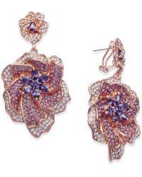 Joan Boyce - Rose Gold-tone Stone And Pavé Flower Drop Earrings - Lyst