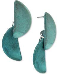Robert Lee Morris - Silver-tone Blue Patina Geometric Half-moon Double Drop Earrings - Lyst
